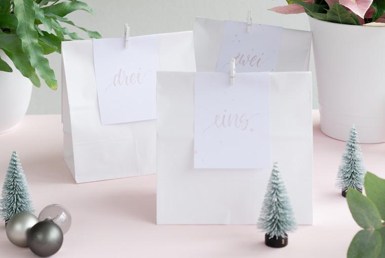 Befüllbarer Adventskalender mit Lettering Zahlenkärtchen