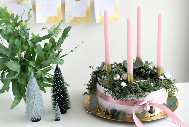 Bepflanzter grüner Adventskranz selber machen