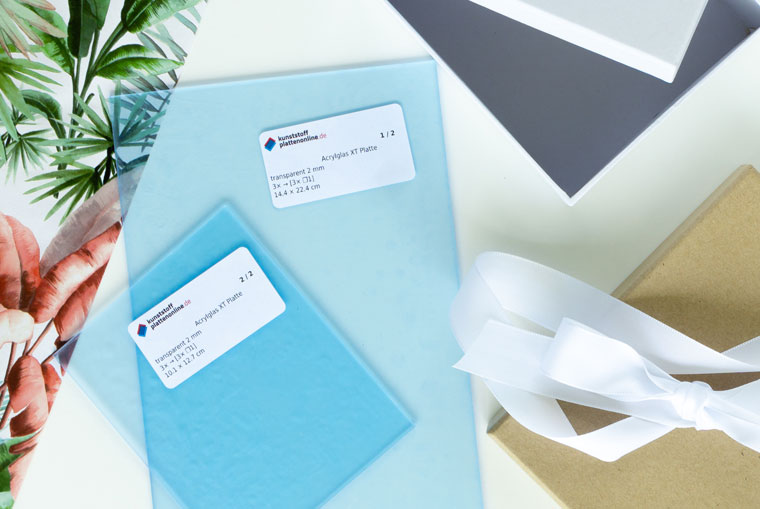 Material Geldgeschenk in der Box mit Acrylglas als Karte