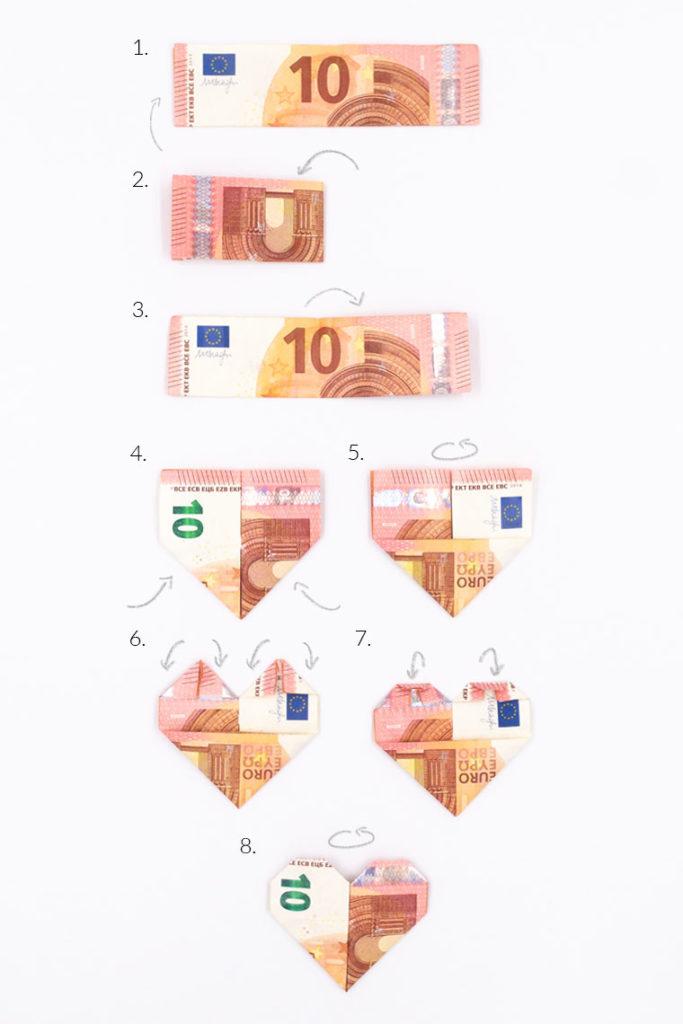 Schritt-für Schritt-Anleitung Geldscheine falten als Herz