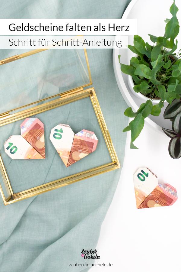 Geldscheine falten als Herz, jetzt die Schritt für Schritt-Anleitung entdecken und selber machen. Damit kommt dein nächstes Geschenk garantiert von Herzen und das Verschenken macht doch gleich viel mehr Spaß.