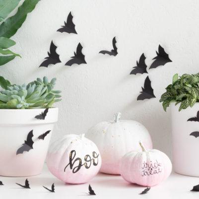 DIY-Vorlage Papier-Fledermäuse als Halloween-Deko zum Ausdrucken