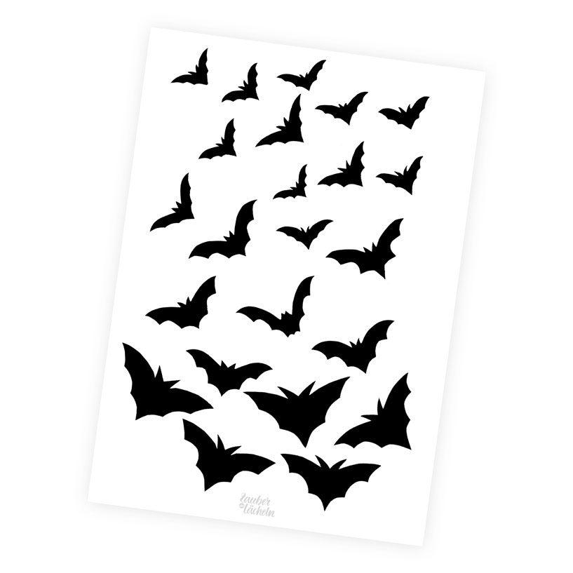 Zum Ausdrucken: DIY-Vorlage Papier-Fledermäuse als Halloween-Deko