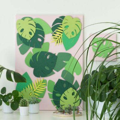 DIY_Vorlage: Tropische Blätter groß für Leinwand
