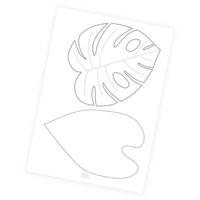 Zum Ausdrucken - DIY_Vorlage: Tropische Blätter groß für Leinwand
