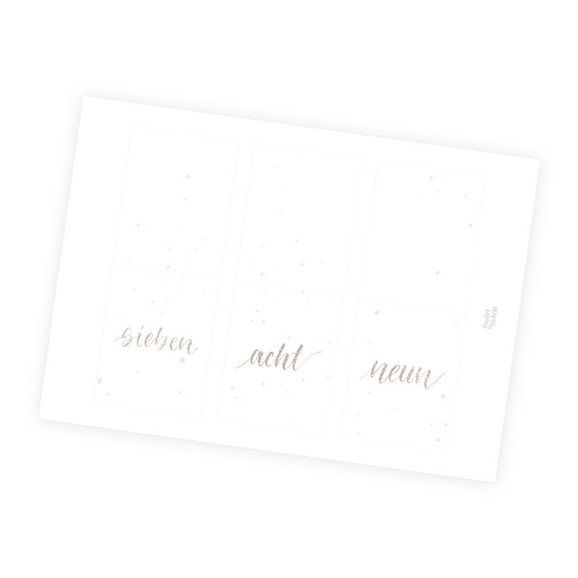 Zahlenkärtchen Adventskalender 4 Farbwelten Gold rosa Sprinkle