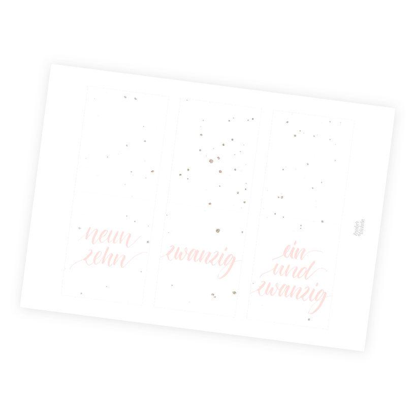 Zahlenkärtchen Adventskalender 4 Farbwelten Rosa Sprinkle Gold