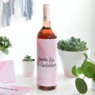 Vorlage Verpackung Weinflasche Hand Lettering zum Ausdrucken