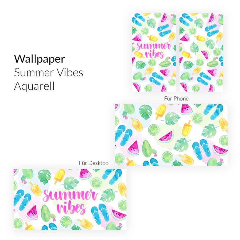 Wallpaper Summer Vibes Aquarell Phone & Desktop