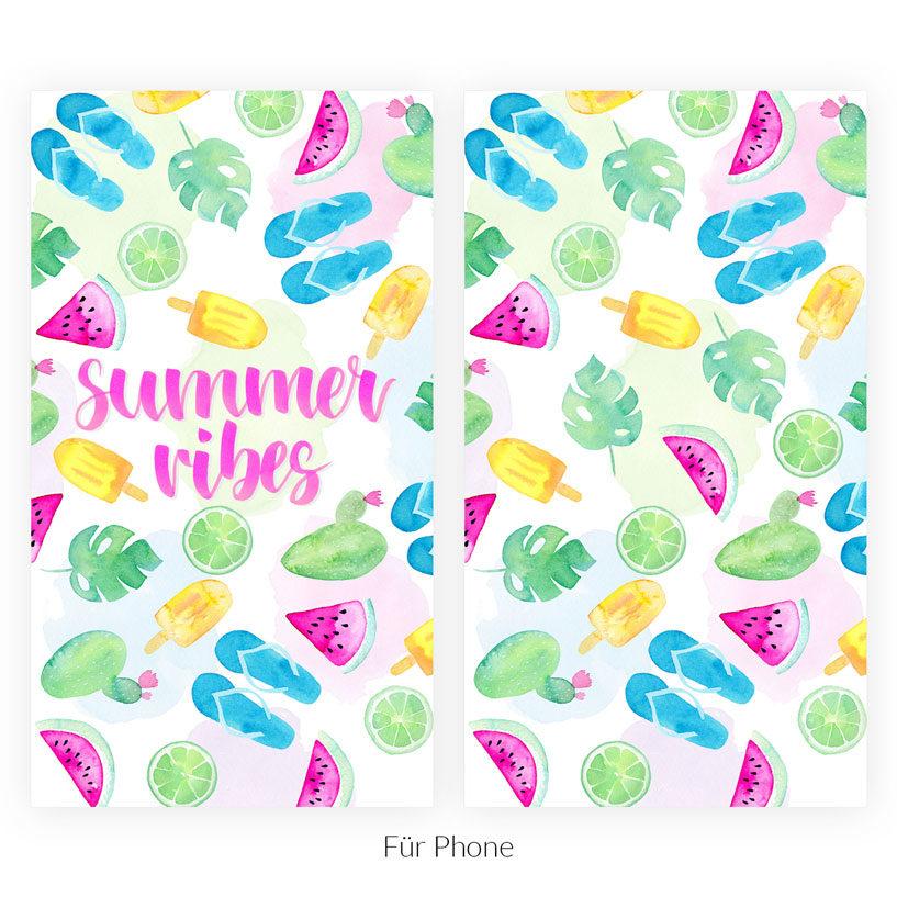 Wallpaper Summer Vibes Aquarell Phone