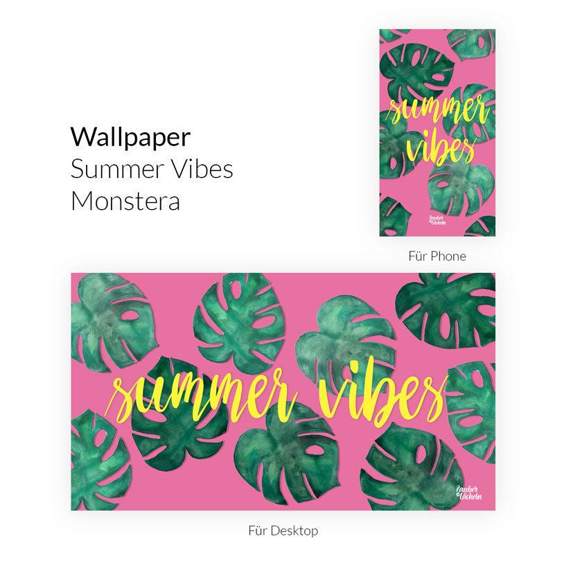 Wallpaper kostenlos Summer Vibes Monstera Desktop & Phone